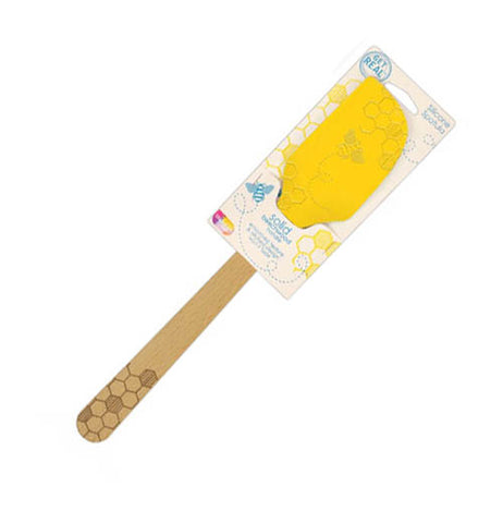 This bee spatula is made of brown beechwood and yellow silicone in it's package.