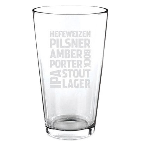 Clear pint glass featuring different beer types in white block text