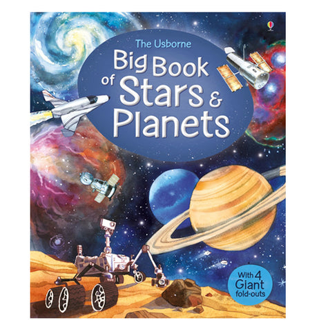 "This book features planets, stars, rockets, and spaceships on the cover of the ""Big Book of Stars & Planets"". The title is displayed in blue and white lettering."