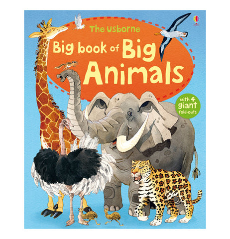 "This large blue book pictures a giraffe, ostrich, elephant, leopard, and albatross. In the middle of an orange circle is the title, ""The Usborne Big Book of Big Animals"" in green and yellow lettering."