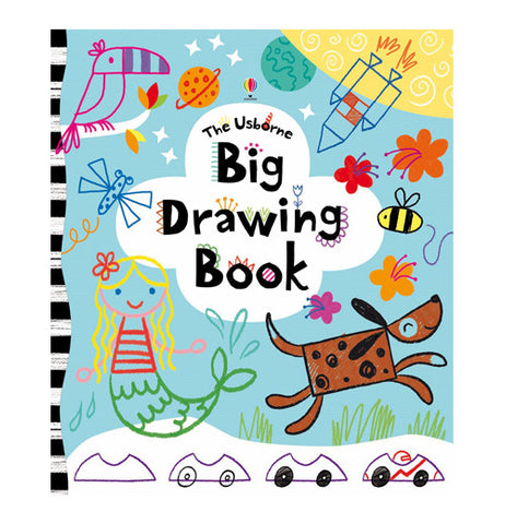 "This drawing book has pictures of a toucan, mermaid, rocket, dog, and bee on its front cover. In the middle is a white cloud shape with the words, ""The Usborne Big Drawing Book"" in black lettering."