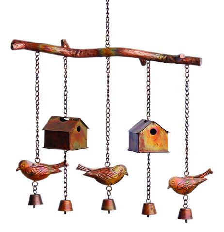 Brown, red and yellow birdhouse and bird steel wind chimes.