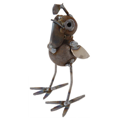 This cute metal baby quail sculpture's head is shown looking up as though to see where to fly off to next.