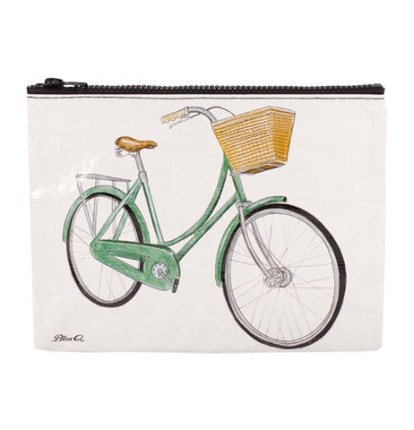 A green bike with a yellow basket printed on a white pouch.