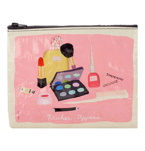 "This pink and white zipper pouch has artwork of cosmetics and a few hairpins against a pink background. At the bottom of the pouch are the words, ""Toucher Uppers"" in white lettering."