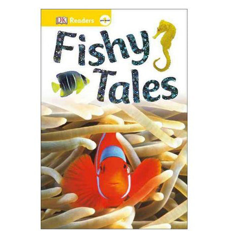 Front cover of Fishy Tales with the image of an orange, white and blue fish swimming among white plants.