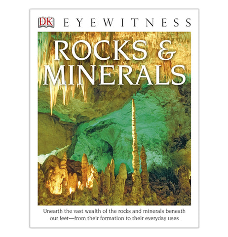 Cover of Rocks & Minerals book with picture of a cave with white stalagmites and stalactites in front of a green and white colored rock wall.