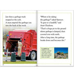 Pages of Earth Smart book talking about a red garbage truck on one page and a landfill on the other.
