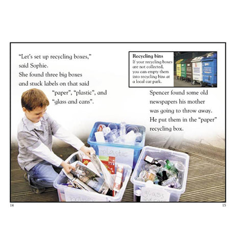 Pages from a book showing a boy sorting out recycle items into organized boxes.