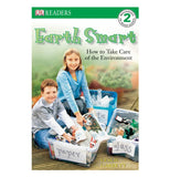Front cover of Earth Smart book featuring a girl and boy sorting out recycling materials into plastic boxes.