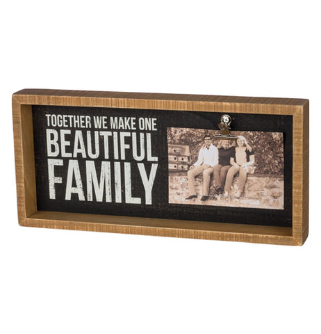 This rectangular wooden box features a white message on black background with picture of a family on the right