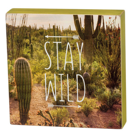 "Desert picture cactus white text saying ""Stay Wild"" with arrows."