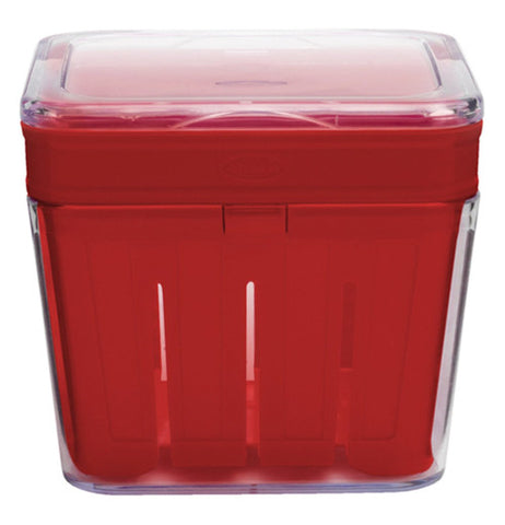 berry basket is red with a clear lid