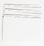 Recipe dividers for recipe cards.