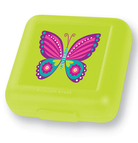 This sandwich keeper is bright green with a pink, purple, and blue butterfly.