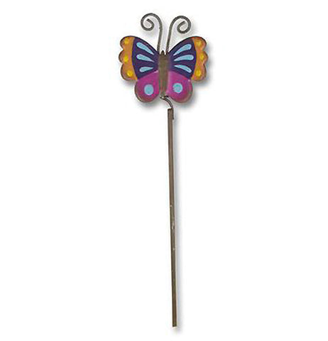 Fairy garden butterfly pick is yellow, purple, blue and orange. It is attached to a metal bar and has antennas.