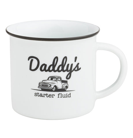 "Porcelain coffee mug with "" Daddy's Starter fluid"" written on it with an old classic truck pictured on the front."