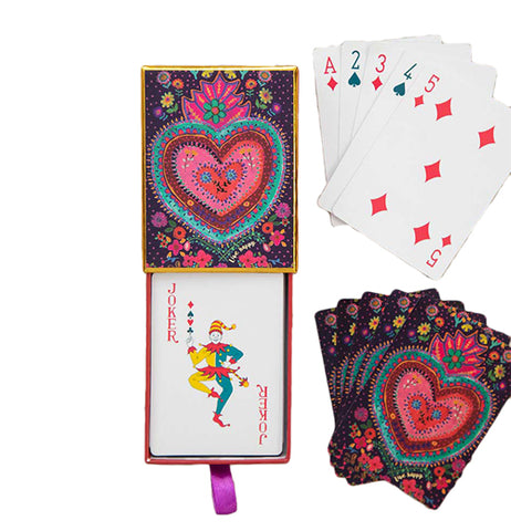 "This ""Happy Heart"" Playing Cards comes in a Colorful heart design and has flowers on the back of the cards. they also show the front of the playing Cards and the back side of the playing cards."