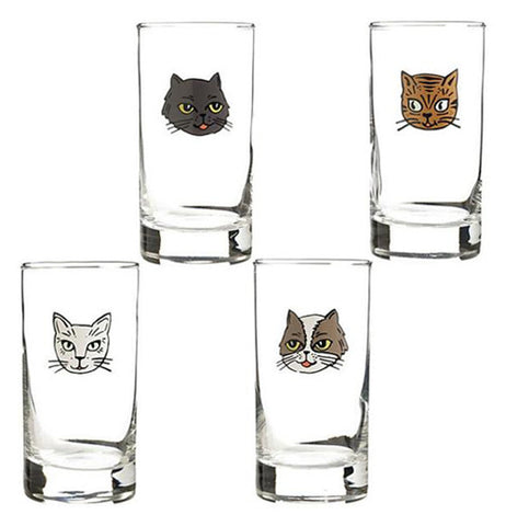 These four cute little Cat Glasses are so cute theres one furry little cat face on each of the glasses.