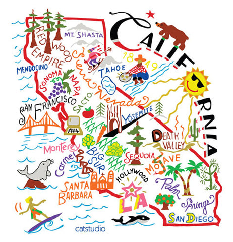 Towel that has the map of California illustrated on the front of it.