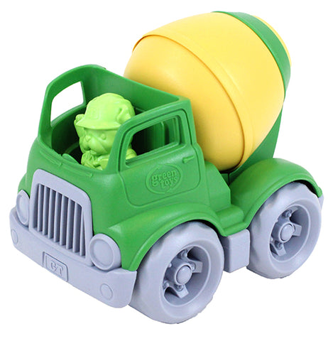 A Green cement toy truck that comes with a bulldog construction worker.