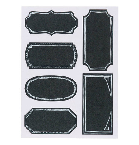 six black Chalk Board Labels in a variety of shapes