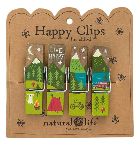 Colorful set of  bag clips with a campsite with red tent, white dog, red and brown station wagon, green trees and hills that have white snow caps.