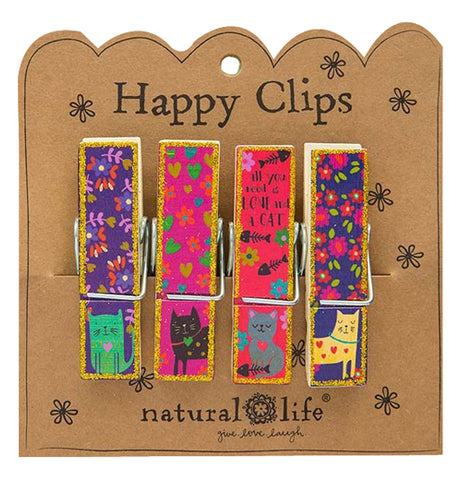 "This is a set of four bag clips. Each one has a design of a different cat against a different colored background. One of the clips has the words, ""All You Need Is Love and A Cat"" in black lettering. The clips are attached to their cardboard packaging. The words, ""Happy Clips Natural Life"" are shown at the top and bottom in black lettering."