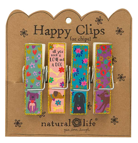 "The 'All You Need is Love and a Dog"" Happy Clips features dog and floral designs in four different colors."