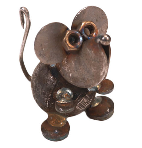 This welded figurine made from recycled metals is of a mouse with large ears, a small nose, and an S-shaped tail.