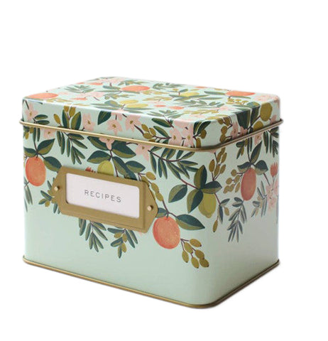 "Recipe Box ""Citrus Floral"" decorated with a painting of oranges and flowers with a golden-colored tin interior."