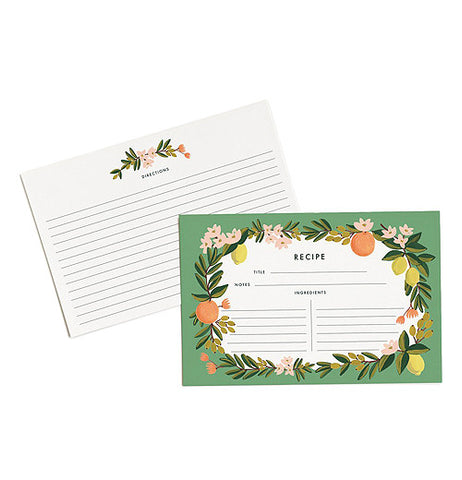 Front and back of recipe cards shown. Decorated in a Orange, white and green floral design.