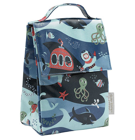 Lunch tote with deep ocean creatures and a submarine and an underwater adventurer.