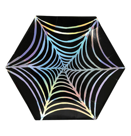 A Black Plate with Multi-colored Web