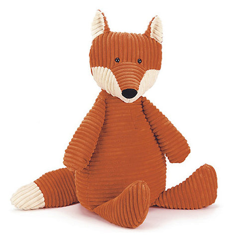 This is a corded orange and white fox toy.