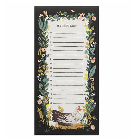 Market list pad featuring a colorful floral pattern over a black background with  a chicken on the bottom laying on a nest with eggs.