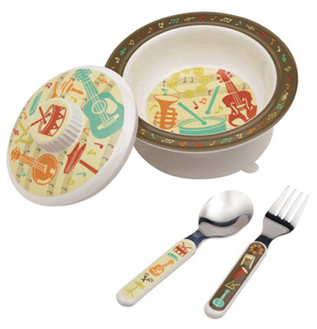 This is a 4 piece Baby Bowl with musical themes, and comes with a matching lid, spoon and fork