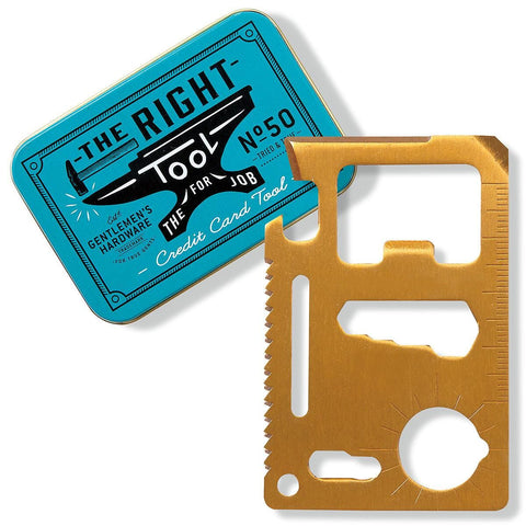 "Gold colored stainless steel credit card tool overlapping a blue tin box that says ""The Right Tool"" on a white background."