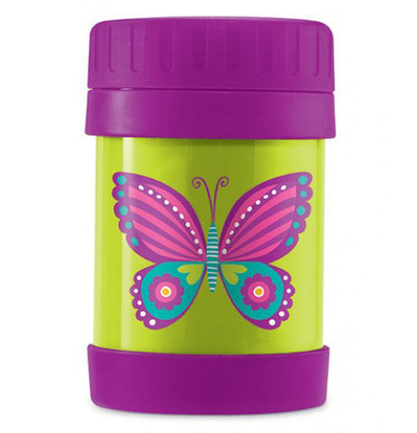 This green Insulated food jar has a purple lid and bottom with a pink, purple, and blue butterfly.