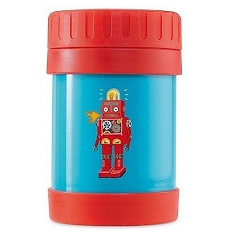 This Insulated food jar has a red lid and bottom with a blue background of a red robot.