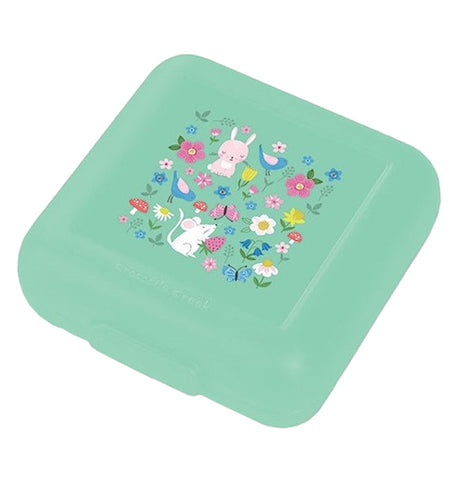 This Snack Keeper with the set of 2 has a cool green container of Backyard Friends with flowers, rabbits, a mouse, and butterflies.