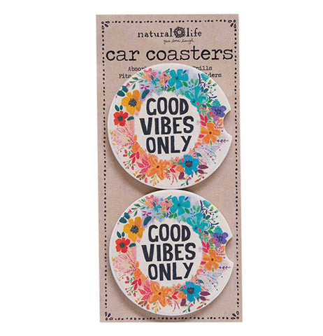 "The set of the packaged ""Good Vibes Only"" Car Coasters are made from absorbent stoneware with colorful flowers around the message, ""Good Vibes Only""."