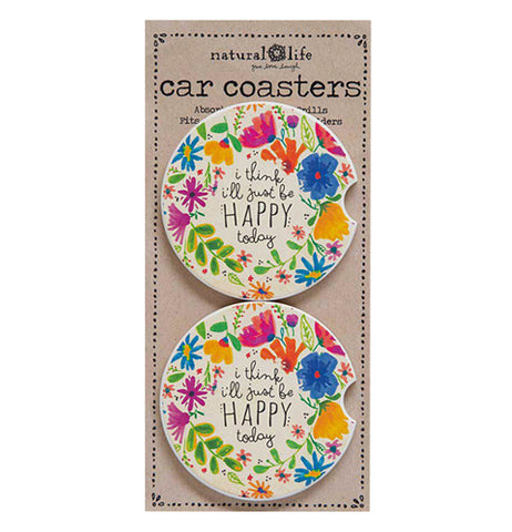 "Two Coasters in their package that say ""I'll Just Be Happy Today"" in black lettering with colorful flowers."