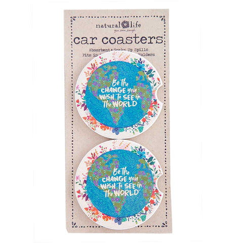 "The ""Be The Change"" (Set of 2) Car Coaster has the message that says, ""Be the Change You Wish to See in the World"" over a globe design dotted with flowers."