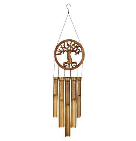 Tree of Life bamboo wind chimes has a hand carved tree design inside a circle with 5 wood wind tubes hanging down.