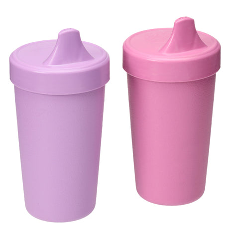 "The (Set of 2) ""Butterfly"" Spill Proof Cups are pink and purple."
