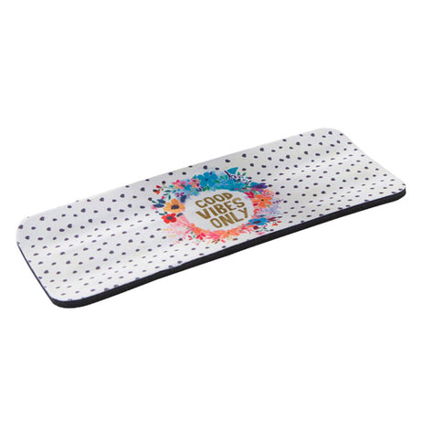 "This is a cold drink cozy is laying flat and has a design of different colored flowers and in the middle of the flower circle in gold lettering are the words, ""Good Vibes Only""."