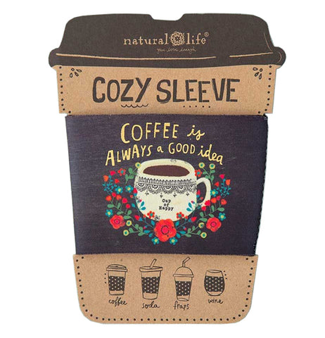 "Natural Life ""Coffee is a Good Idea"" cozy sleeve in its packaging."