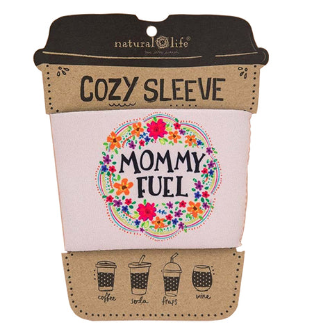 "This Cozy has a colorful floral design over a white back ground that says ""MommyFuel"""