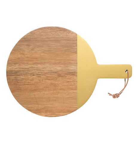 Circular tray made of acacia wood with the handle and a small portion of the right painted in gold.